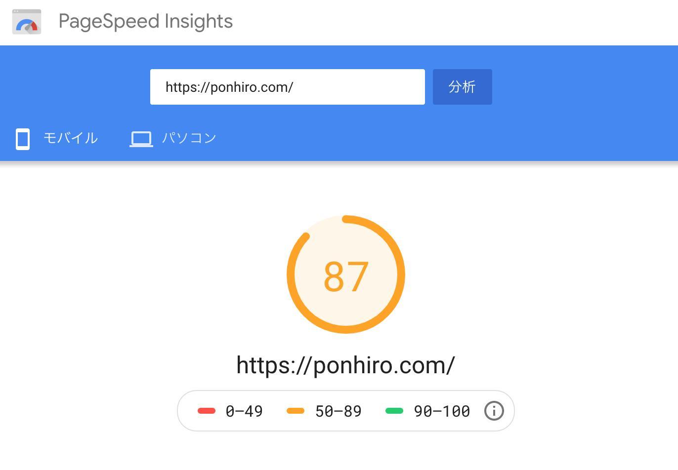 ponhiro.com スピードテスト