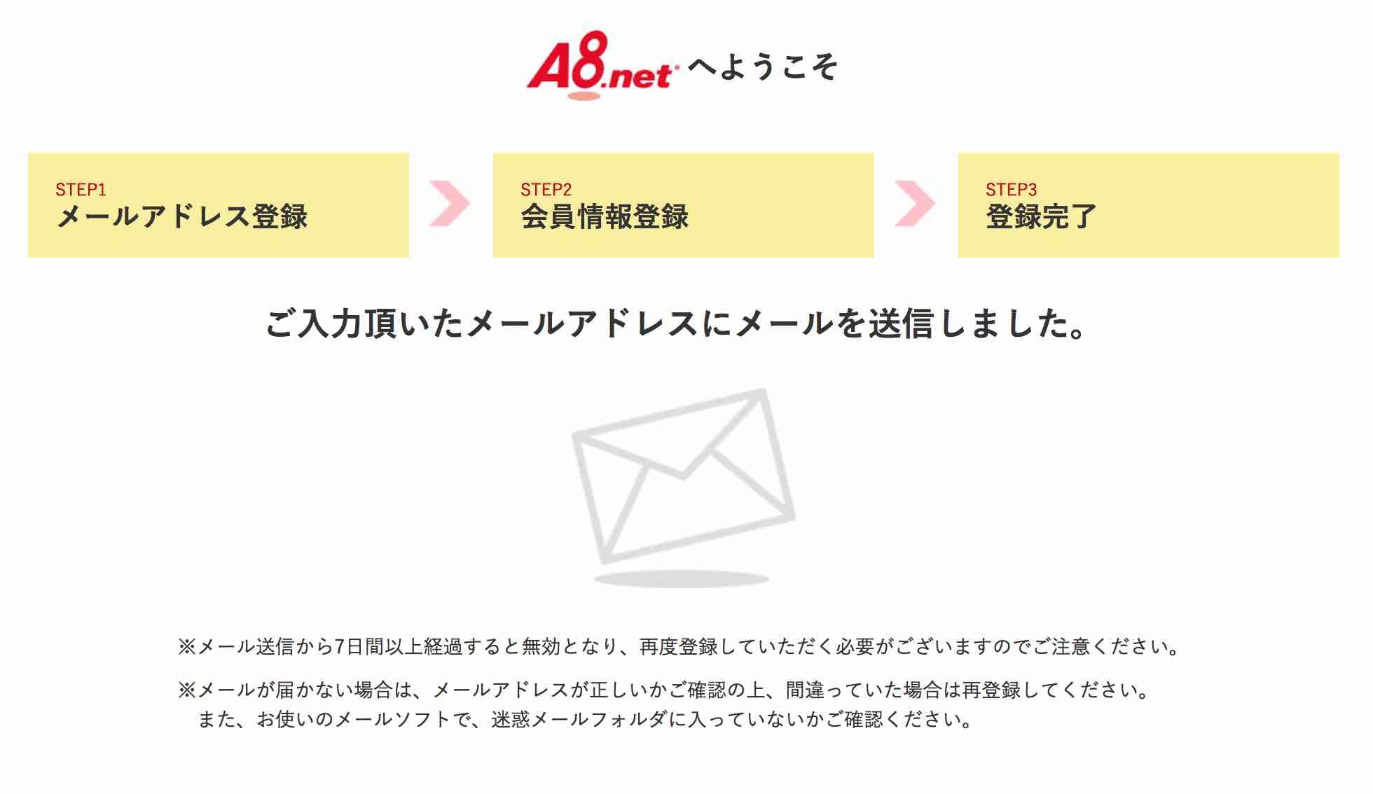 a8.net無料会員登録手順4